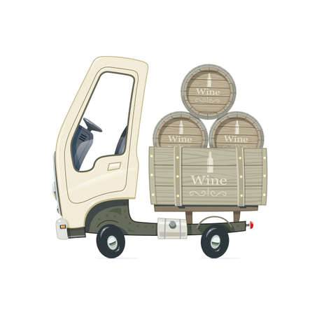 Small Truck for delivery wine barrel. Lorry with wooden cask. Cartoon auto. Transport. Isolated white background. Vector illustration.