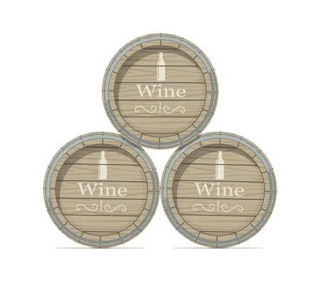 ワイン木樽ホワイト バック グラウンド Eps10 ベクトル図に分離されました。 写真素材 - 84291226