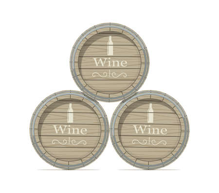Wine wooden barrel isolated on white background Eps10 vector illustration.