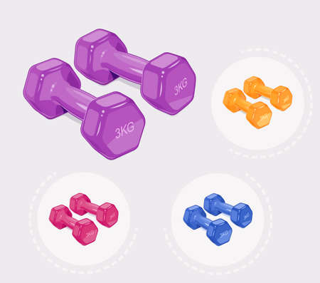 Dumbbells for fitness. Sports inventory. Barbells. Bodybuilding gym equipment. Vector illustration. Ilustrace