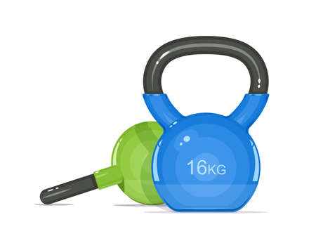 Kettlebells. Equipment for fitness. Sport inventory. Isolated white background. Eps10 vector illustration. Ilustração