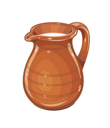 Ceramic jug with milk. Fictile tableware. Capacity for drink. Isolated white background. Eps10 vector illustration.