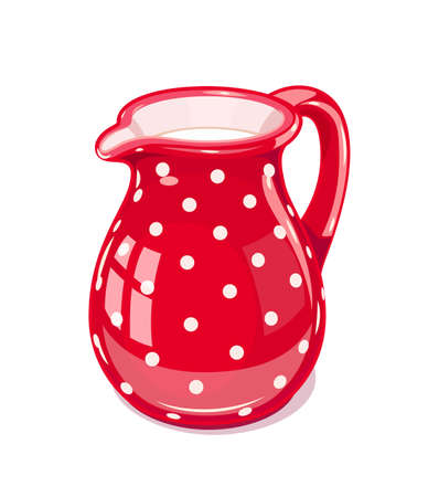 Red Ceramic jug with milk. Fictile tableware. Capacity for drink. Isolated white background. Vector illustration. Ilustração
