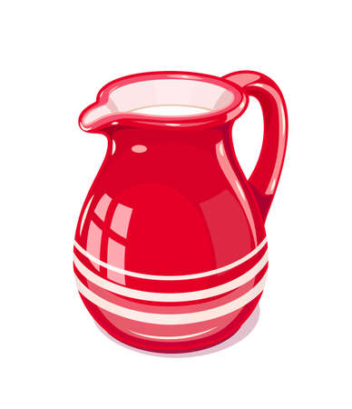 Red Ceramic jug with milk. Fictile tableware. Capacity for drink. Isolated white background. Vector illustration. Çizim