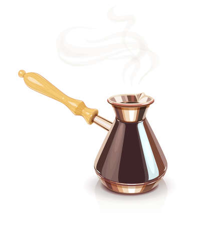 Turkish Coffee pot with handle. Equipment for cooking aromatic beverage. Copper cezve. Vector illustration, eps10 isolated white background Ilustrace