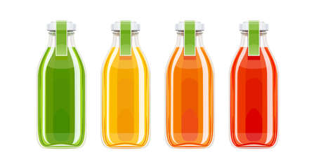Glass juice bottles. Ecological beverage. Vegetarian healthy food. Orange, tomato, carrot eco drink. Isolated white background. Eps10 vector illustration.