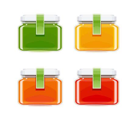 Glass juice bottles. Ecological beverage. Vegetarian healthy food. Orange, tomato, carrot eco drink. Isolated white background. Vector illustration. Illustration