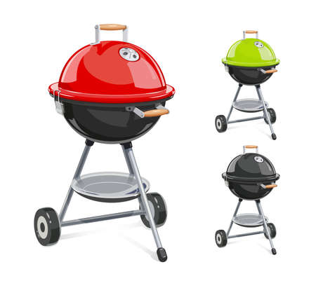 Kettle for barbecue with lid design on white backdrop illustration.