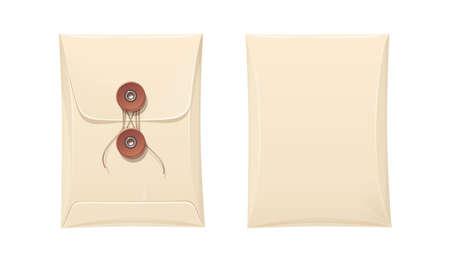 Papieren envelop met touwvergrendeling. Vintage briefpapier kantoor accessoire voor cover papieren document. Geïsoleerde witte achtergrond. Eps10 vector illustratie. Stock Illustratie