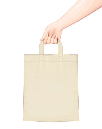 Hand hold Shopping bag. Set of accessoryes for foodstuff. Eco Bags mockup Isolated white background. Vector illustration. Ilustração