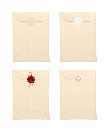Papieren envelop met beschermingsstempel en sticker.