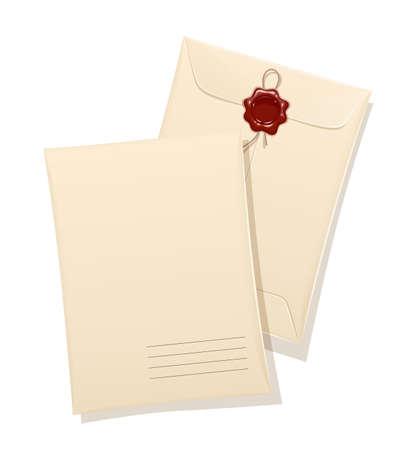 Papieren envelop met beschermingsstempel en sticker. Vintage briefpapier kantoor accessoire voor cover papieren document. Geïsoleerde witte achtergrond. Vector illustratie. Stock Illustratie