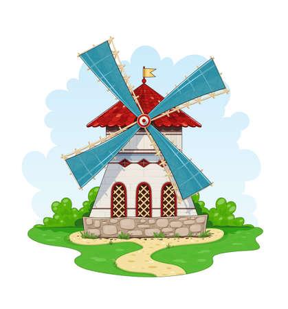 ビンテージ風車。エネルギー工場の生態学的な農業設備を風します。白い背景のベクトル図を分離しました。