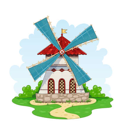 Vintage windmill. Wind energy ecological Agriculture equipment for mill. Isolated white background vector illustration.