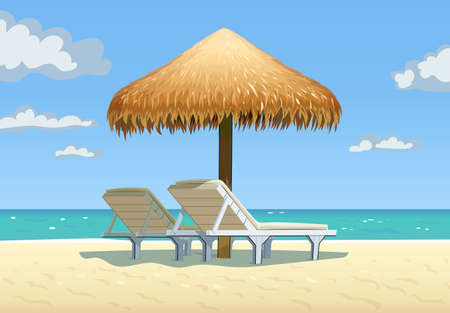 Ocean beach with umbrella and bed. Vector illustration. Illustration