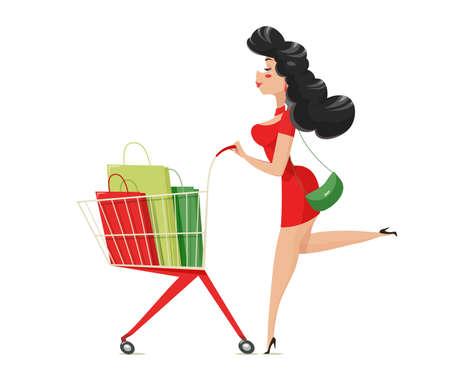 ショッピング。スーパーマーケットのカートを持つ女の子。孤立した白い背景。