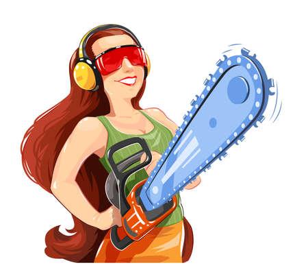 Beautiful girl with chain saw.