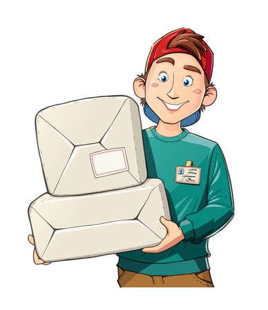 패키지를 가진 남자. 배달 서비스. 우편 배달부. 만화 캐릭터. 격리 된 흰색 배경입니다.