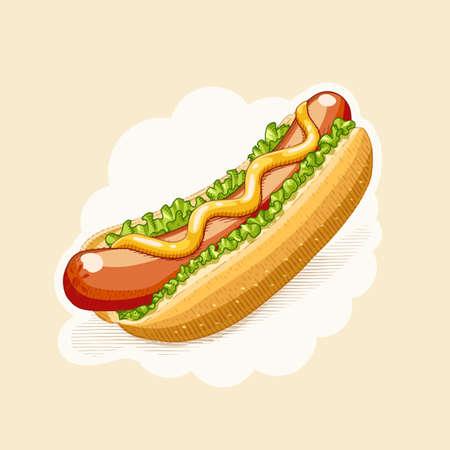 Hotdog . Fast Food in Gravur Stil . Eps10 Vektor-Illustration Standard-Bild - 94135659