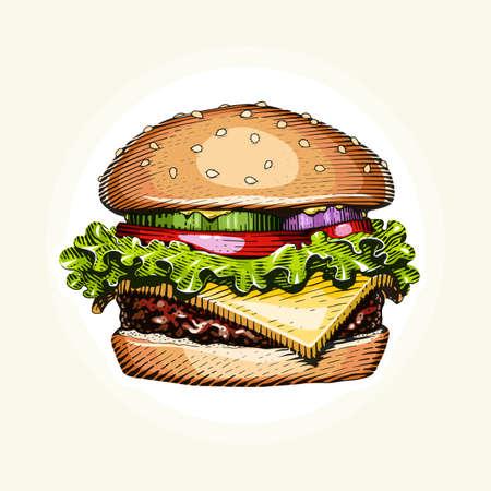 Hamburger. Fast food. Engraving vintage style. Classic Cheeseburger.