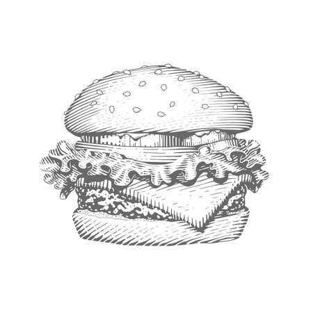 Hamburger. Fast food. Engraving vintage style. Classic Cheeseburger. Isolated white background. Eps10 vector illustration.