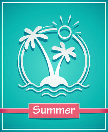 Palm at tropical island. Summer holiday symbol. Isolated white background. Eps10 vector illustration.