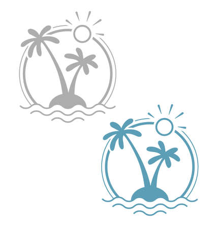 熱帯の島のヤシ。シンプルな夏休みのシンボル。孤立した白い背景。Eps10 ベクトルの図。  イラスト・ベクター素材