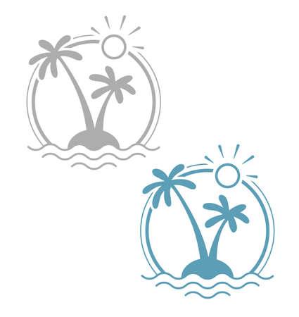 Palm op tropisch eiland. Eenvoudig zomervakantie symbool. Geïsoleerde witte achtergrond. Eps10 vector illustratie. Vector Illustratie