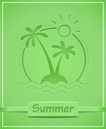 Palm op tropisch eiland. Zomervakantie symbool. Geïsoleerde witte achtergrond. Eps10 vector illustratie.