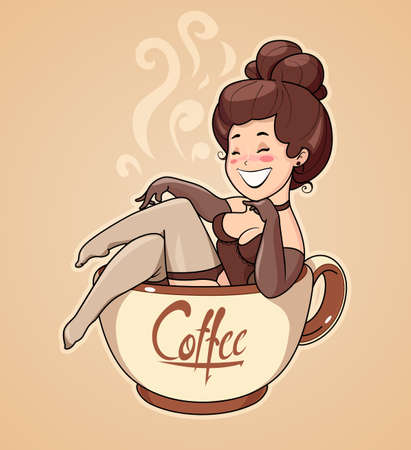 Beautiful girl sit in coffee cup. Pin-up Character for cafe. Cartoon Woman invite to breakfast drink.