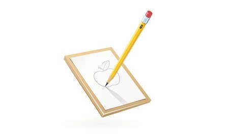 Lápiz de dibujo de una manzana en papel blanco Foto de archivo - 96078221