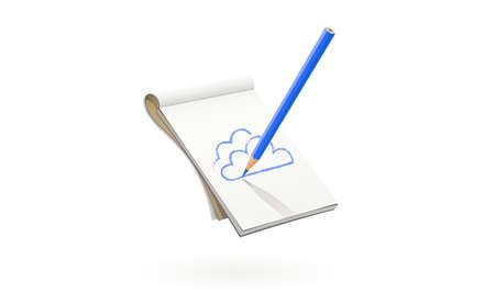 ブルーペンシルはアートアルバムで雲を描きます。スケッチや絵を描くアートツール。孤立した白い背景。  イラスト・ベクター素材