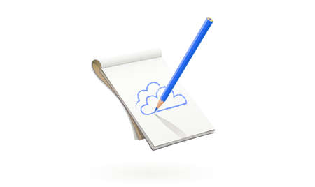 Blue Pencil draw cloud at art album. Art tool for drawing sketch and picture. Isolated white background. Stock Illustratie