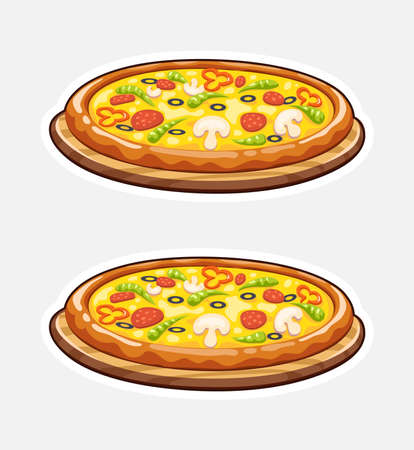 Pizza on wooden board. Italian traditional food. Fast-food. Isolated white background. Eps10 vector illustration.