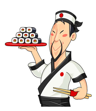 Japanese cook with sushi isolated white background. Vector illustration. Çizim