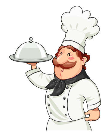 Cook with tray for food and lid. Food service  Occupation. Cartoon character  Isolated white background. Eps10 vector illustration. Illustration