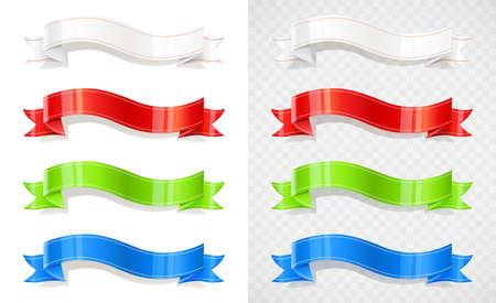 Set of color ribbon decoration tape color flag. Vintage banner isolated white background vector illustration. Illusztráció