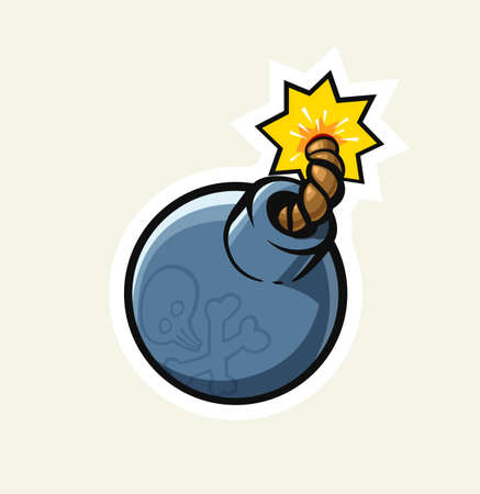 Vintage bomb with cord and fire. Danger Explosion. Age-old Weapon Isolated white background. Eps10 vector illustration. Çizim
