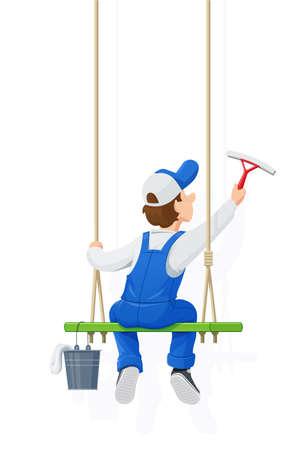 Laveur de vitres. Service de nettoyage. Lavage de personnage de dessin animé. Windows Cleaner Work. Occupation des personnes. Salopette ouvrière. Job de l'homme. Fond blanc isolé. Illustration vectorielle EPS10. Vecteurs