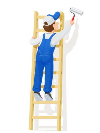 Painter at stairs painting the wall cartoon character isolated white background vector illustration.