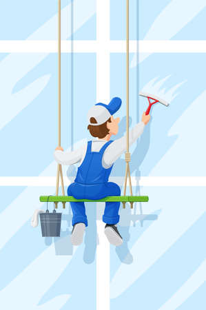 Window washer. Cleaning service. Cartoon character wash. Windows Cleaner Work. Ilustracja