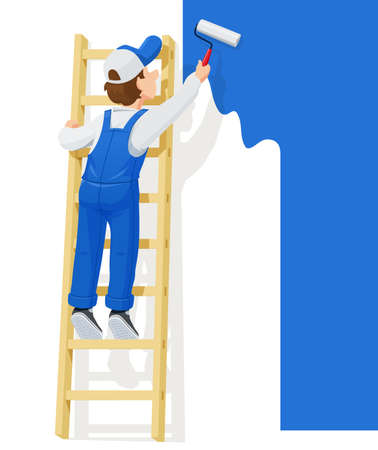 Malarz na schodach maluje ścianę. Postać z kreskówki. Okupacja ludzi. Obsługa pracownika. Na białym tle. Ilustracja wektorowa Eps10.