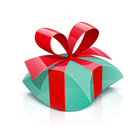 Gift box with red bow, isolated white background. Ilustração