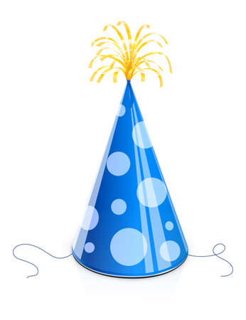 Party cap for birthday. Blue Childs cone hat with golden brush. Celebration symbol. Holiday accessories. Funny Festive decoration. Isolated white background. Eps10 vector illustration.