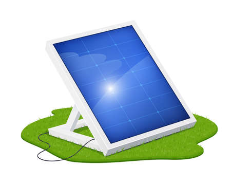 Solar panel for alternative energy. Eco system. Isolated white background. Sun Technology. Green Electricity. Innovation technologies. Energy saving device. EPS10 vector illustration. Ilustração
