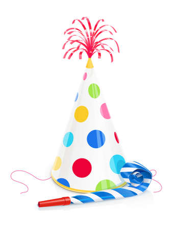 Party cap and whistle for birthday. Childs cone hat with golden brush. Celebration symbol. Holiday accessories. Funny Festive decoration. Isolated white background Eps10 vector illustration.
