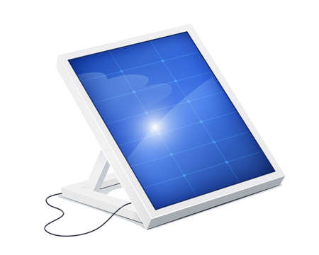 Solar panel for alternative energy. Eco system. Isolated white background. Sun Technology. Green Electricity. Innovation technologies. Energy saving device. EPS10 vector illustration. Ilustrace