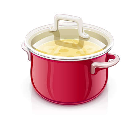 Red saucepan with lid. Kitchen tableware. Prepare food. Cooking meal. Kitchenware tool. Utensil equipment. Cook Pan. Realistic Pot. Iron Kettle for saup. Isolated white background. EPS10 vector illustration.