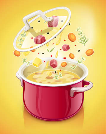Red saucepan with lid. Kitchen tableware. Prepare food. Cooking meal. Kitchenware tool. Utensil equipment. Cook Pan. Realistic Pot. Iron Kettle for saup. EPS10 vector illustration. Ilustracja
