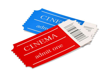 Cinema ticket. Movie access pass. Cinematograph symbol. Film Entry card. Theatre Permit coupon. Isolated white background. EPS10 vector illustration.